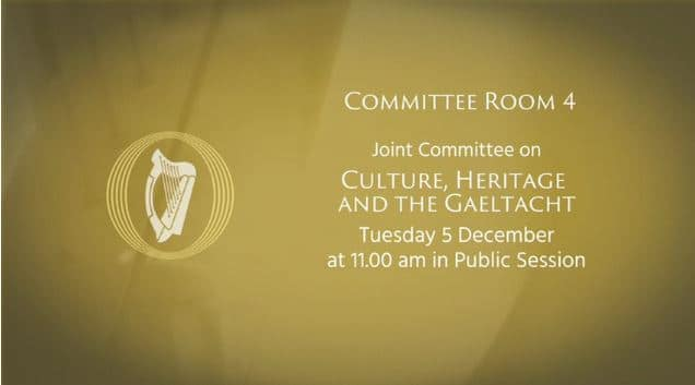 IWAI Presenting at Joint Committee Committee on Culture Heritage and the Gaeltacht Tuesday 5th